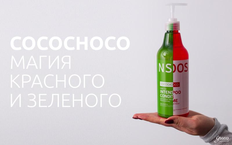 рука, на руке шампунь cocochoco boost up и кондиционер cocochoco intensive