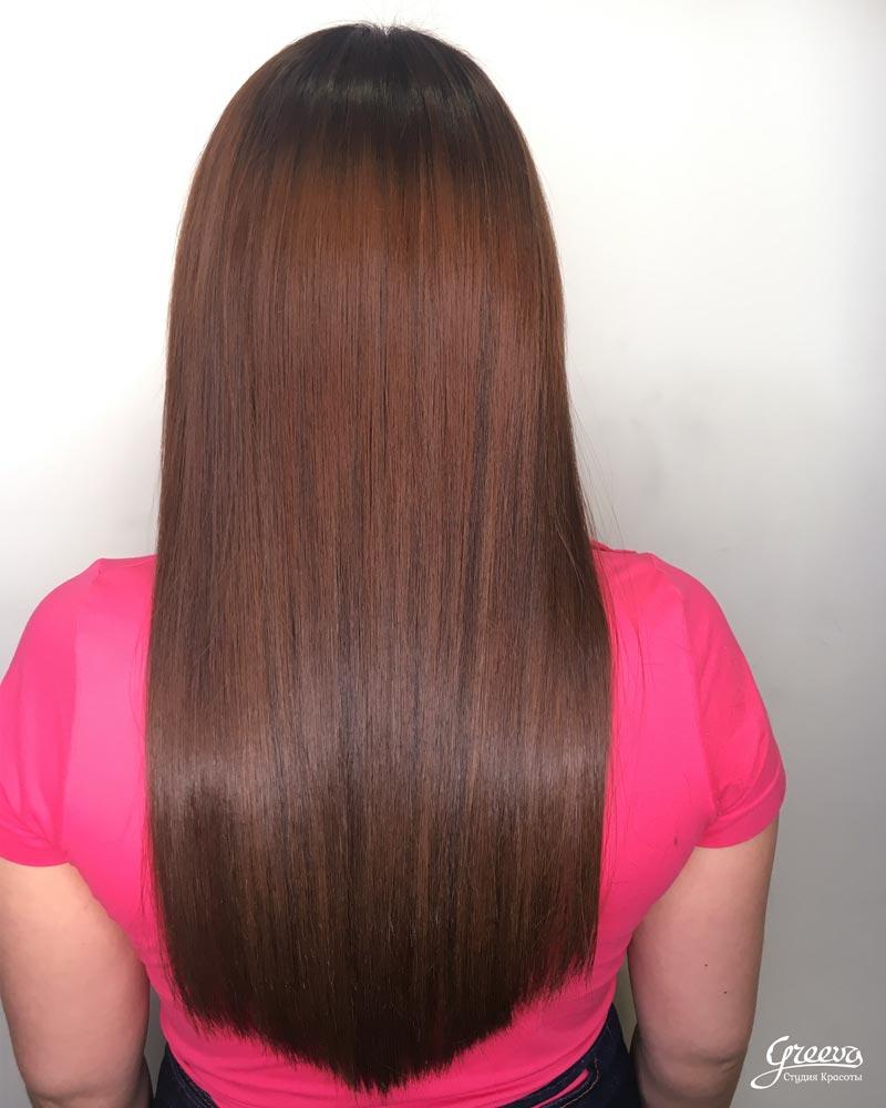 волосы после наращивания и окрашивания. Финальный результат