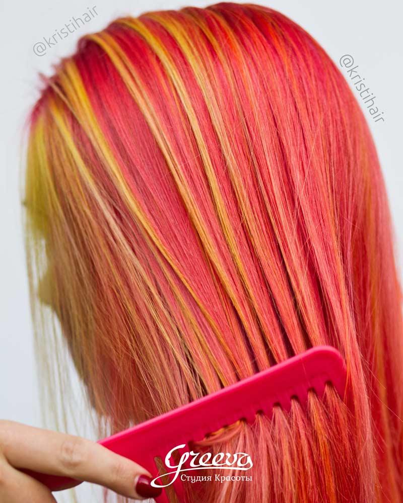 цветные волосы, брондирование волос