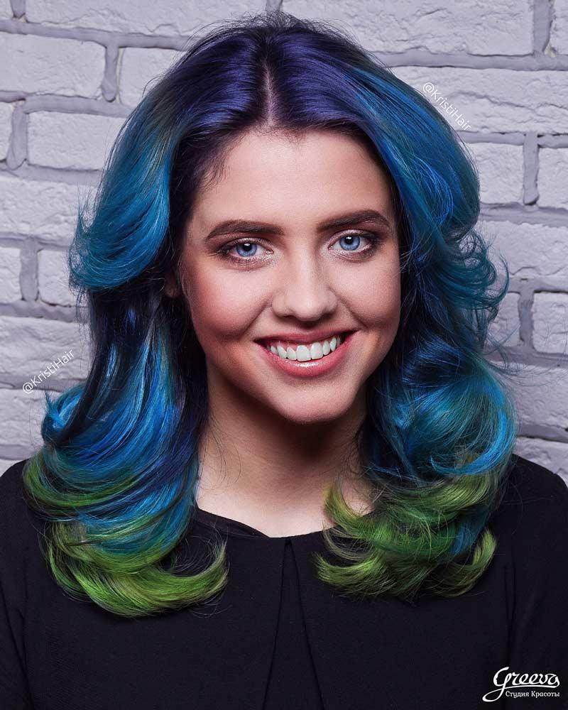 цветное окрашивание волос, цветные волосы, синие волосы, цветное омбре