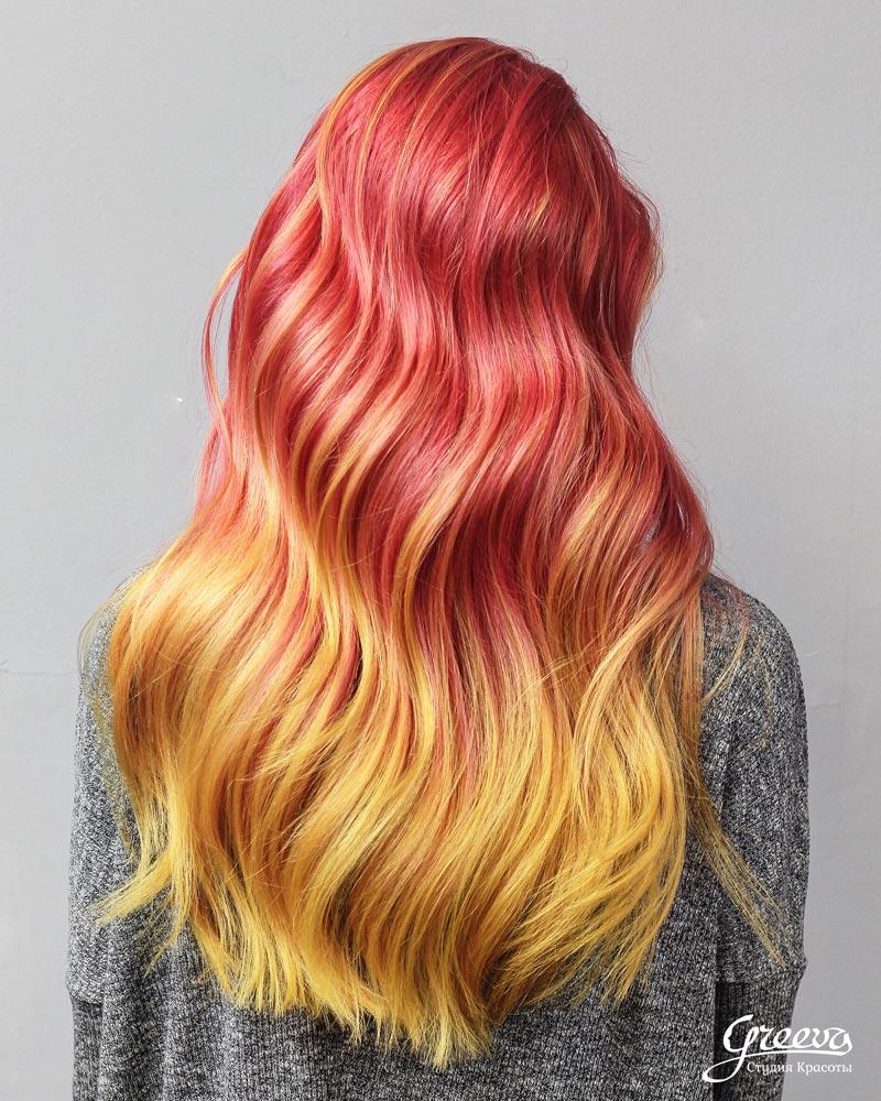 цветное омбре, яркое окрашивание волос