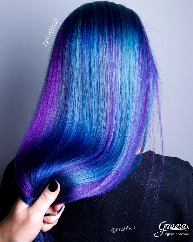 Синий цвет волос, яркое окрашивание волос