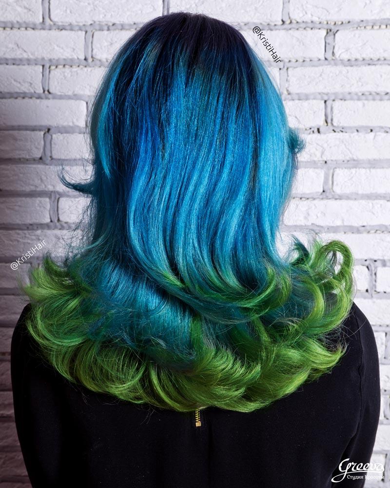 Цветное омбре, яркие цвета волос
